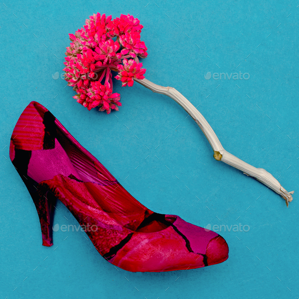 Vintage Lady Shoe and flower. Minimal art design - Stock Photo - Images