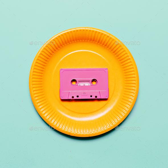 Audio cassette. Retro vibes Minimal art idea - Stock Photo - Images