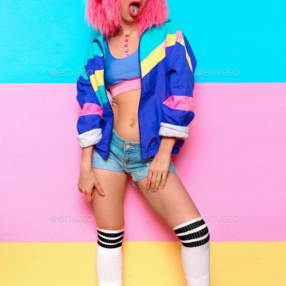 Playful Stylish Girl DJ. Musical vibrations. Clubbing Minimal po - Stock Photo - Images