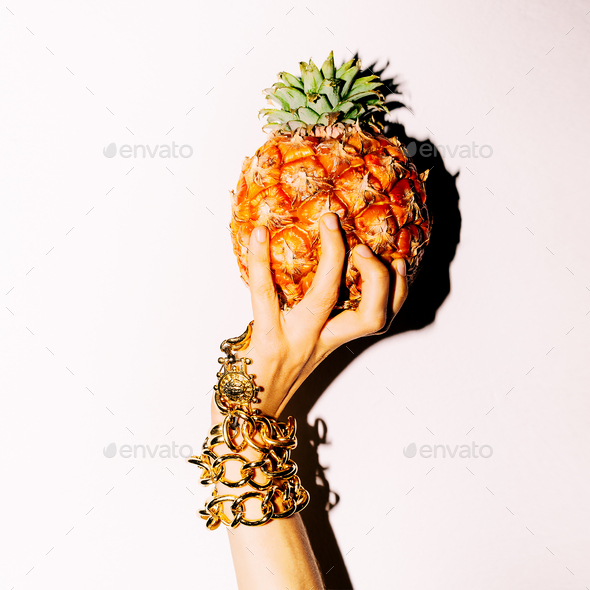 Pineapple. Fashion. Bracelet hand accessories. - Stock Photo - Images