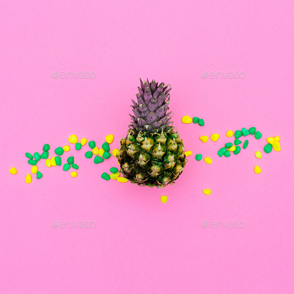 Mini pineapple fashion pink concept Minimal art design Candy Col - Stock Photo - Images