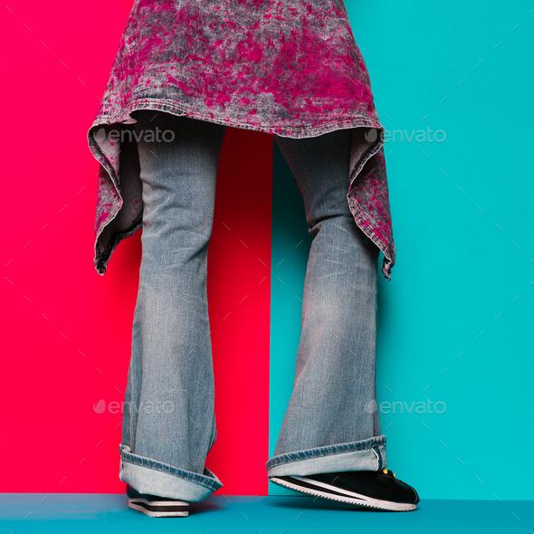 Denim Lover. Trendy denim clothing. Fashion concept. - Stock Photo - Images