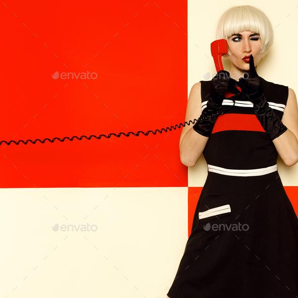 Blonde Lady retro style with vintage telephone Minimal Fashion - Stock Photo - Images