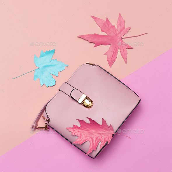 Fashionable Pink Bag for Lady. Spring vibration. Concept Minimal - Stock Photo - Images