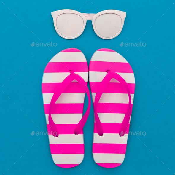 Beach season is open. Marine style. Flip-flops, stripes, sunglas - Stock Photo - Images