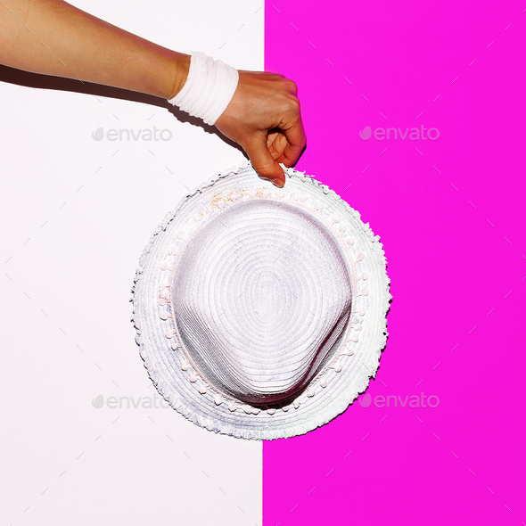 Beach vibration. Hat. Minimal art design - Stock Photo - Images