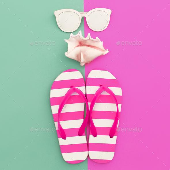 vacation time. Sea style. Minimal art fashion design - Stock Photo - Images