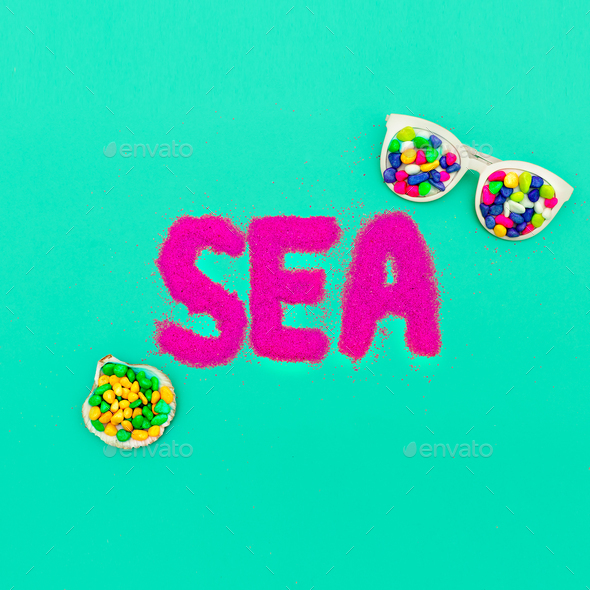 Love Sea. Minimal art. Summer Time Vacation - Stock Photo - Images
