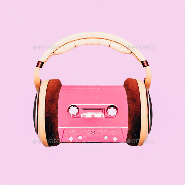 Contemporary art collage. Retro Lover. Audio cassette and headph - Stock Photo - Images