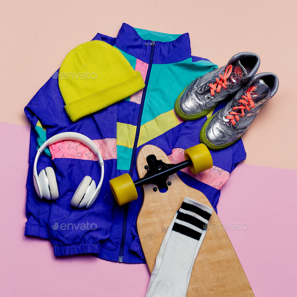 Vintage sportswear. Skateboard style. Fashion blogger help. Top - Stock Photo - Images