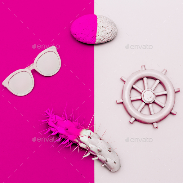 Tropical sea vibes Minimal design. Fashion accessories. Sunglass - Stock Photo - Images