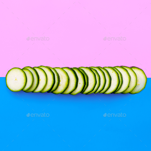 Pieces zucchiniVegan minimal art design - Stock Photo - Images
