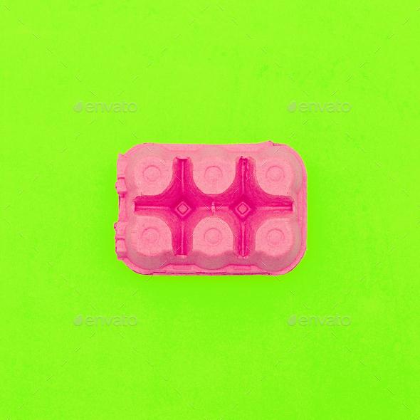 Egg box. Minimal design art. Creative - Stock Photo - Images