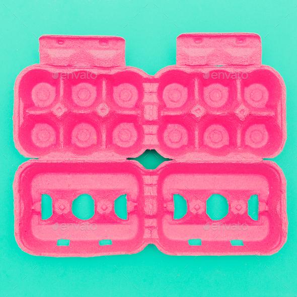 Egg container. Minimal design art. Creative - Stock Photo - Images