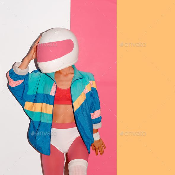 Disco rave style. Motorcycle racer fashion art - Stock Photo - Images