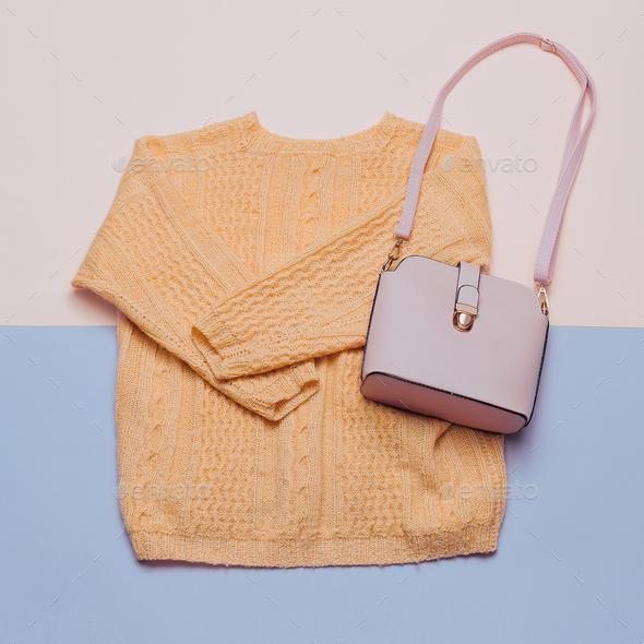 Stylish female clothes set. Woman / girl outfit on stylish backg - Stock Photo - Images