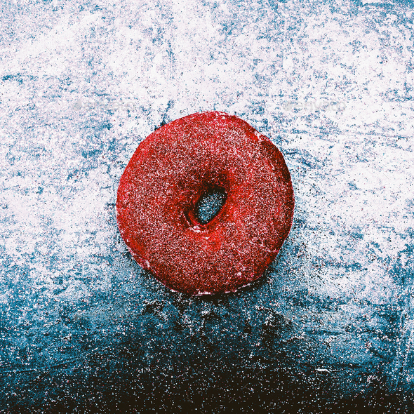 Glitter Donut Fashion concept Shining snow fast food Minimal Des - Stock Photo - Images