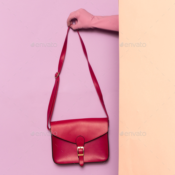 Stylish clothes. Fashion accessory. Red bag. wardrobe ideas tren - Stock Photo - Images