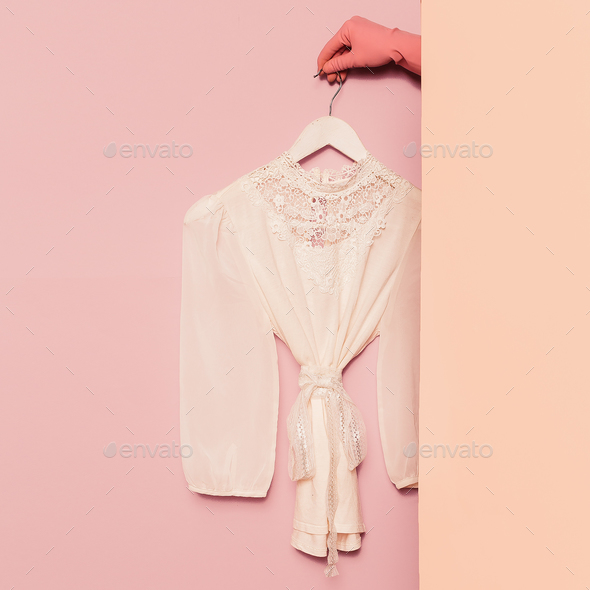 Stylish clothes. Romantic fashion. White shirt lace vintage on t - Stock Photo - Images