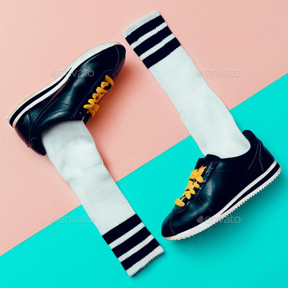 Minimal fashion creative art. Stylish sneakers and socks. - Stock Photo - Images