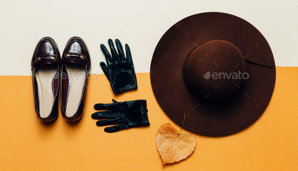 Fall accessories. Fashion Shoes, gloves, hat. Fashion Vintage St - Stock Photo - Images