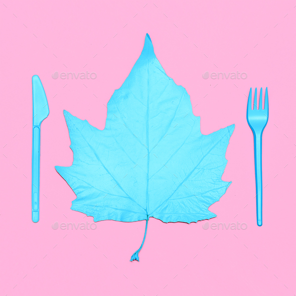 Art gallery. Autumn Leaf Blue Paint - Stock Photo - Images