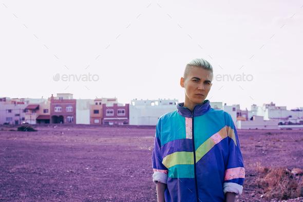 Girl with short hair urban style minimal creative art - Stock Photo - Images