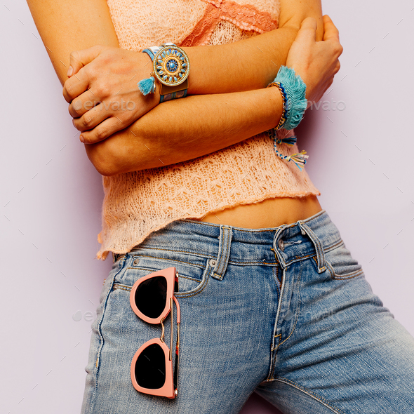Model Country Style fashion accessories. Summer. Classic jeans, - Stock Photo - Images