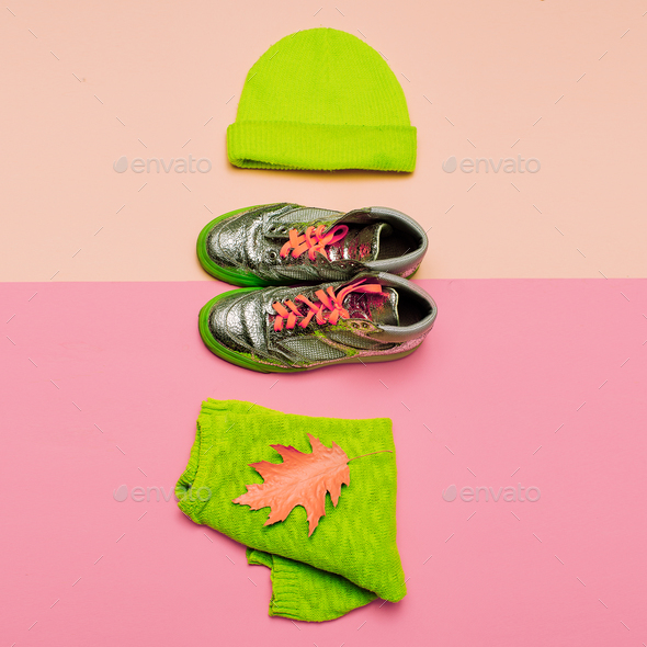 Stylish set of clothes. Beanie jacket and sneakers. Urban casual - Stock Photo - Images