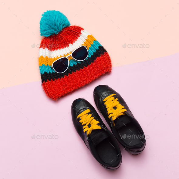 Top view Cap Hat Keds Hipster trend style. Spring Casual Urban A - Stock Photo - Images