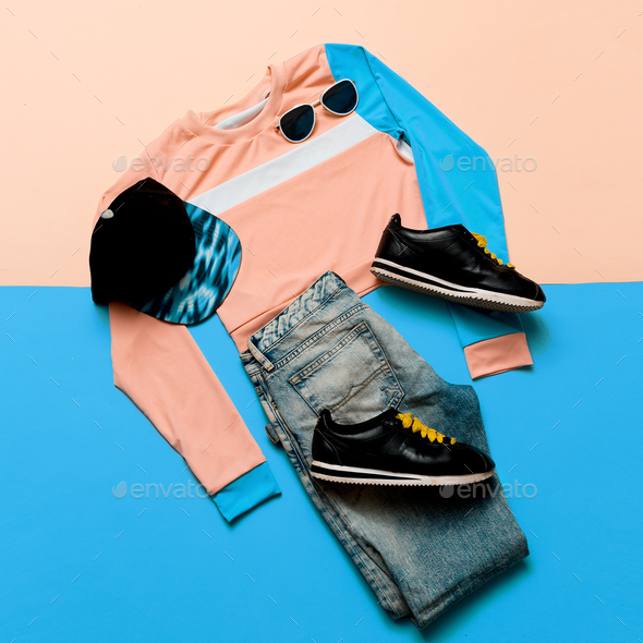 Fashionable Sports Jacket and Jeans. Sneakers Hipster. Pastel Su - Stock Photo - Images