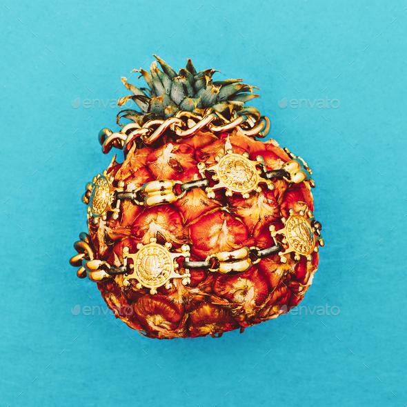 Pineapple. Fashion. Bijouterie. Minimal art. - Stock Photo - Images