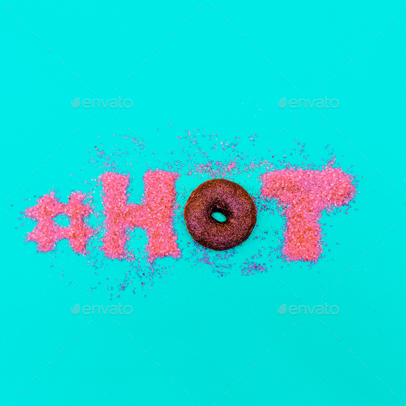 Donut hashtag Glamour Glitter Text Minimal Art fashion - Stock Photo - Images