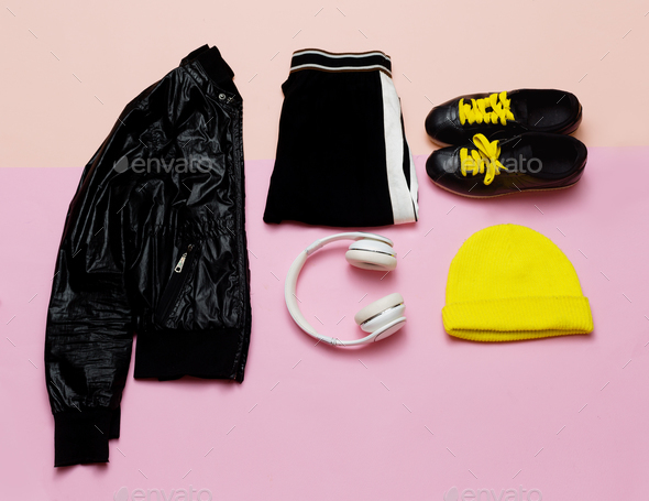 Fashion Outfit for women. Stylish black clothes and bright acces - Stock Photo - Images