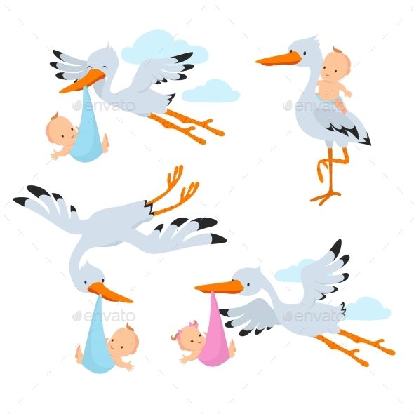 Cartoon Flying Storks Carrying Babies - Animals Characters
