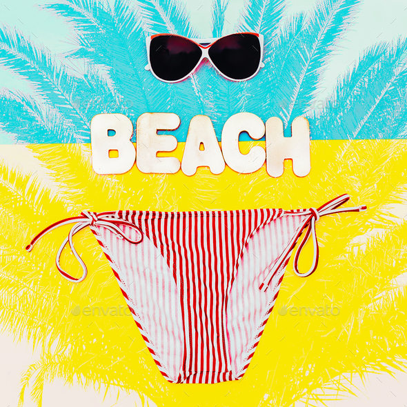 Beach time. Stylish Bikini And Sunglasses For The Lady - Stock Photo - Images