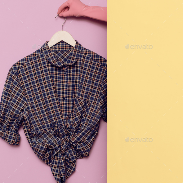Stylish clothes. Country fashion. Checkered shirt. - Stock Photo - Images