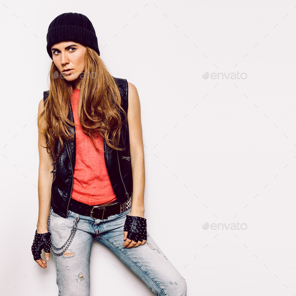 Stylish Girl Rock Style fashion jeans, jacket, accessories - Stock Photo - Images