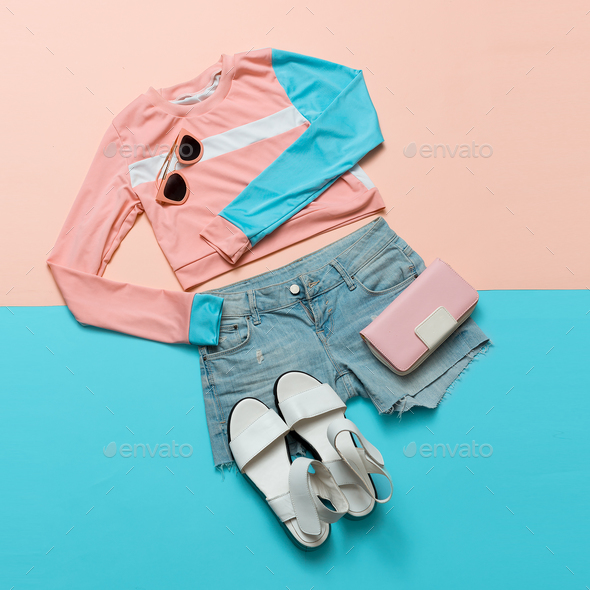 Stylish clothes. Geometry. Creative. Minimal. White Sandals. Sum - Stock Photo - Images