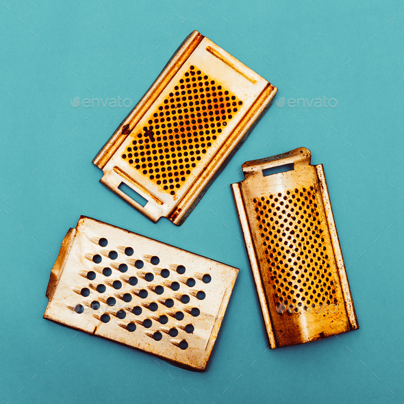 Set of old grater. Kitchen utensils. Retro Minimal - Stock Photo - Images
