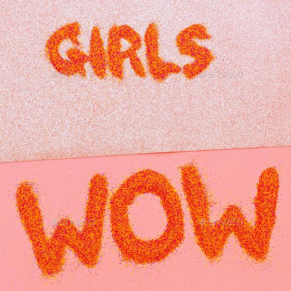 Stylish set Girls Wow Minimal design fashion - Stock Photo - Images