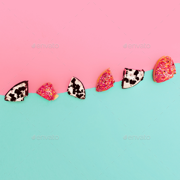 Creative bright fast food. donut pieces Minimal art idea - Stock Photo - Images