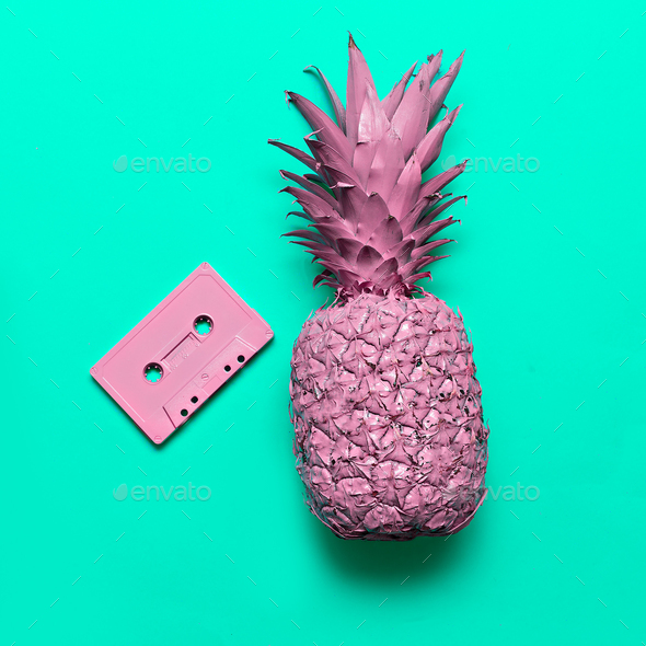 Pineapple and Audio cassette. Beach party Retro vibes Minimal ar - Stock Photo - Images