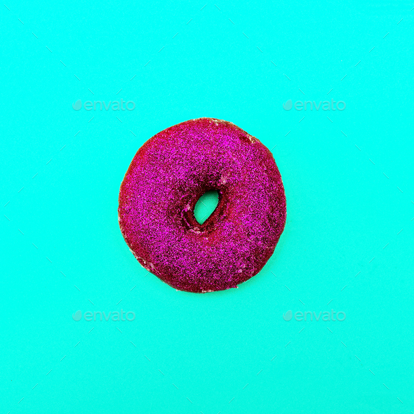 Fashion Donut in glitter Minimal Art Still Life Details - Stock Photo - Images