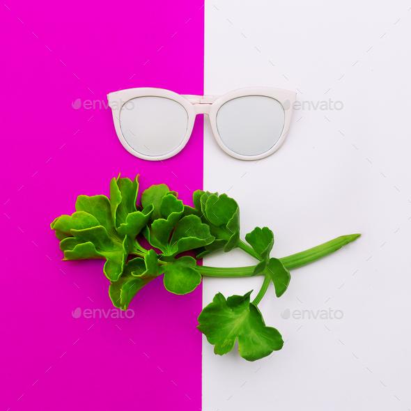 Fashion accessory white Sunglasses Minimal art design - Stock Photo - Images