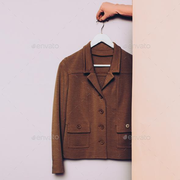 Stylish clothes. Vintage jacket on a hanger. wardrobe ideas tren - Stock Photo - Images