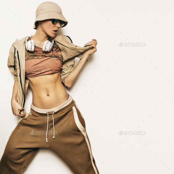 Urban Fashion Model. Hipster Hip Hop DJ Street dance style. - Stock Photo - Images