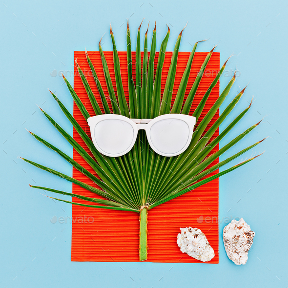 Sea tropical style. Palms and seashells. Sunglasses. Minimal art - Stock Photo - Images