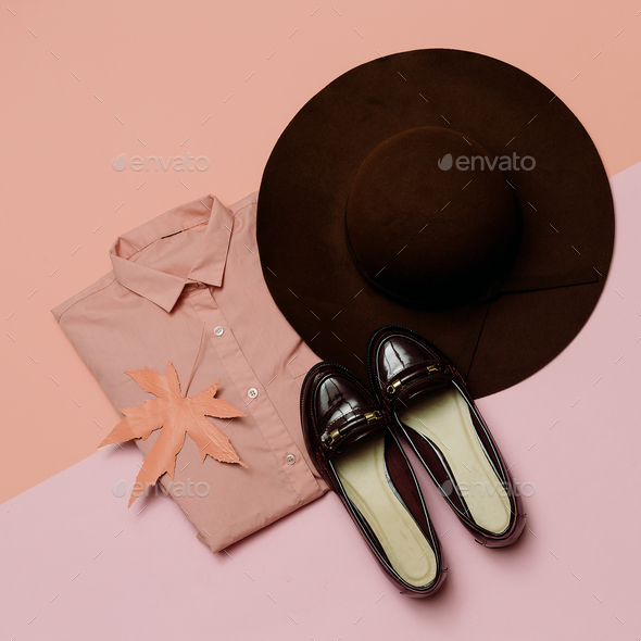 Stylish clothes set. Spring. Accessories. Hat and Vintage Shoes - Stock Photo - Images