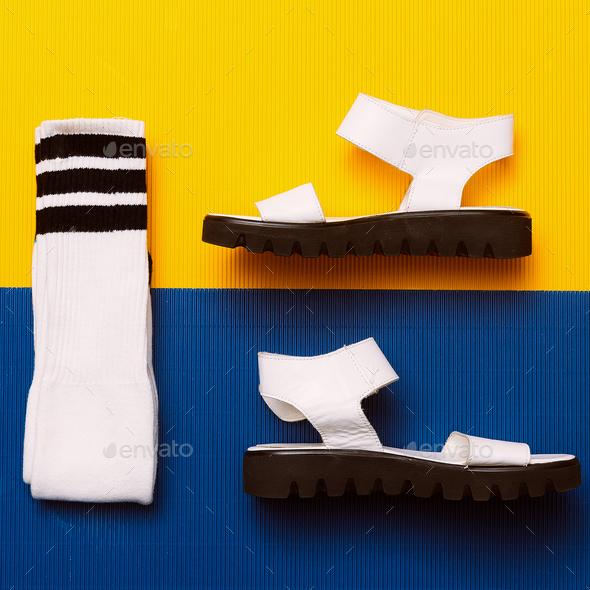 White sandals and socks. Minimal Summer sports style - Stock Photo - Images